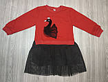 Плаття дитяче з лебедем червоний верх, фото 3