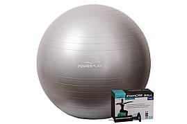 М'яч для фітнесу PowerPlay 4001 75см Сріблястий + насос