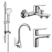 KIT 30094 набор смесителей (4 в 1), смеситель для умывальника, смеситель для ванны, душевой гарнитур,