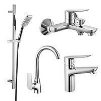 KIT 30095 набор смесителей (4 в 1), смеситель для умывальника, смеситель для ванны, душевой гарнитур,