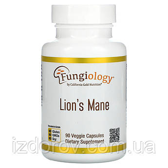California Gold Nutrition, Ежовик гребенчатый, гриб Lion's Mane, 90 растительных капсул