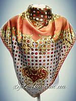 Шёлковый платок на два угла Гороршек терракот ,бордо(100%rayon)