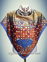 Шёлковый платок на два угла Гороршек капучино ,синий