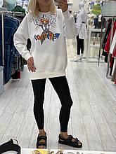 """Модное женское Худи на флисе, ткань """"Трикотаж"""" 48, 50, 52, 54 размер 48"""
