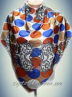Шёлковый платок на два угла Гороршек терракот,синий