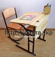 Растущие Парта и стульчик  дерево на металлокаркасе, фото 1