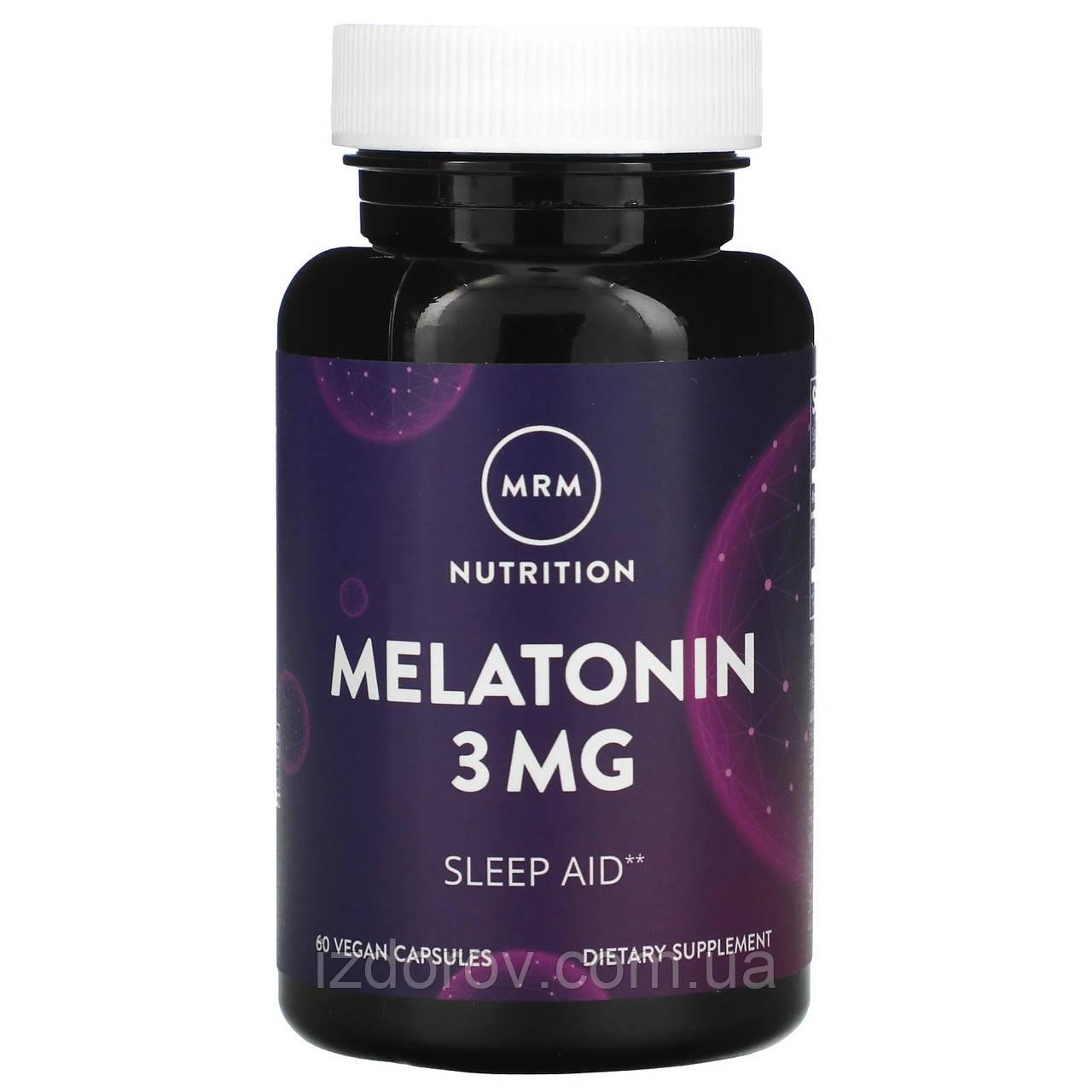 MRM, Мелатонін 3 мг, Melatonin, для поліпшення сну, 60 капсул веганских