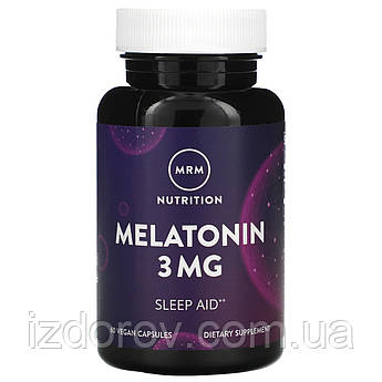 MRM, Мелатонин 3 мг, Melatonin, для улучшения сна, 60 веганских капсул