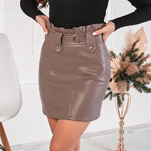 Женская мини-юбка из эко-кожи