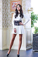 Платье с гипюровым поясом цвет белый Мишель