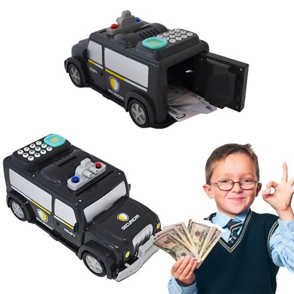 Cейф детская машина Money Transporter 589-11b. Машинка копилка с кодовым замком и отпечатком.