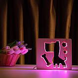 """Светильник ночник детский ArtEco Light из дерева LED """"Пес и косточка"""" с пультом и регулировкой цвета, RGB, фото 7"""
