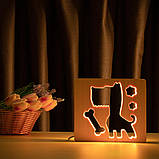 """Светильник ночник детский ArtEco Light из дерева LED """"Пес и косточка"""" с пультом и регулировкой цвета, RGB, фото 8"""