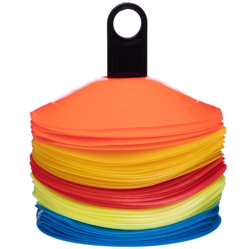 Фішки для розмітки поля на підставці 50шт С-4346 (пластик, d-20см, 50шт, різнокольоровий)