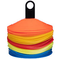 Фішки для розмітки поля на підставці 50шт С-4346 (пластик, d-20см, 50шт, різнокольоровий), фото 1