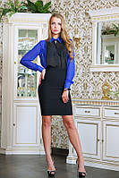 Блуза классическая шифоновая цвет синий Франсуаза