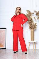 Зручний жіночий діловий костюм з тканини барбі сорочка і штани з кишенями батал, фото 1