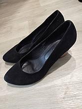 Женские туфли черные на танкетке Б/У 38 размер - по стельке 24,5см, натуральная замша