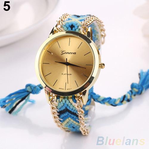 Женские кварцевые наручные часы в этническом стиле Jeneve Etnisch Marineblau