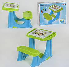 Парта навчальна для дошкільнят 03-433 з відкидною кришкою та відділенням з органайзером, колір синьо-зелений