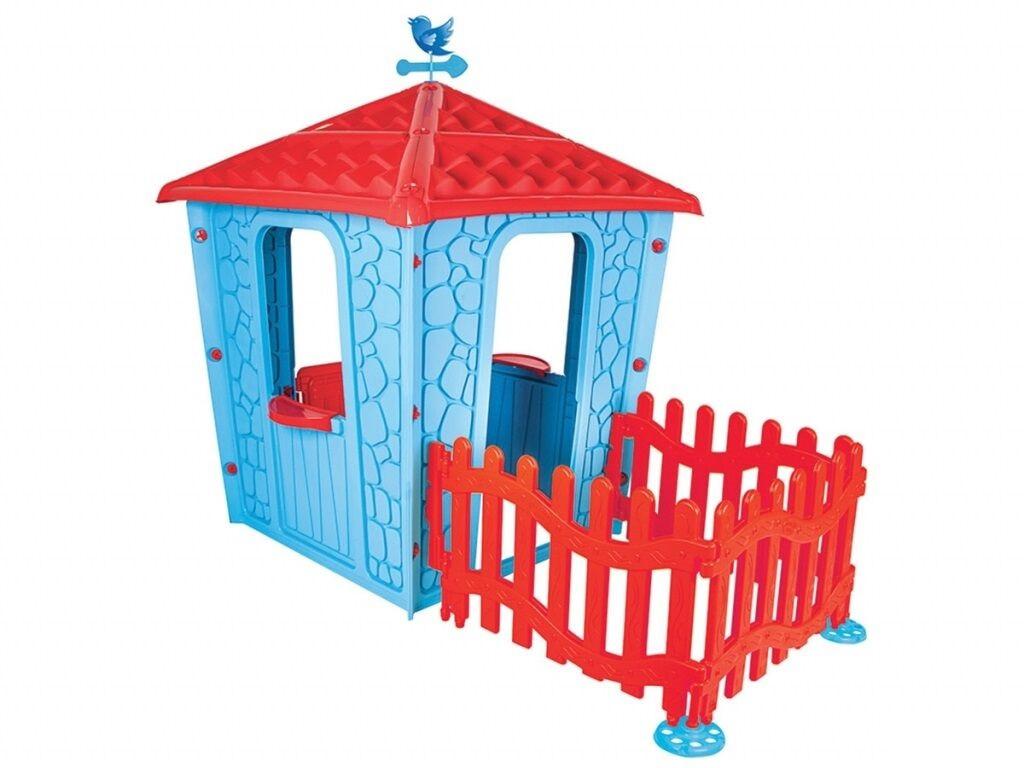 Большой пластиковый игровой домик с забором Pilsan Stone 06-443 (высота 150 см), цвет голубой с красным