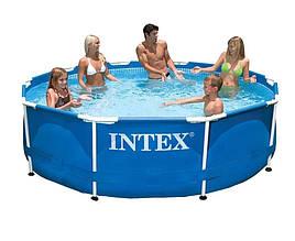 Круглий басейн Intex 28200 NP для всієї родини з тришарового ПВХ з металевим каркасом (розмір 305*76 см)