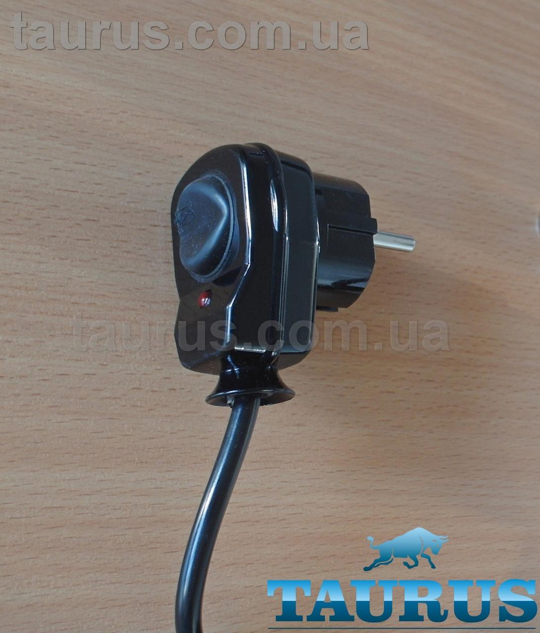 Вилка с кнопкой чёрная Black + заземление для мощных электроприборов до 3500W (16А), с индикатором. Польша