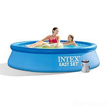 Надувний басейн Intex 28108 в комплекті з фільтр-насосом потужністю 1250 л/год (розмір 244х61 см), синій