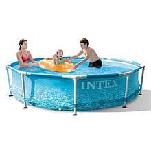 Круглий басейн для вулиці Intex 28206 з Морським принтом, металевим каркасом, (розмір 305*76 см)