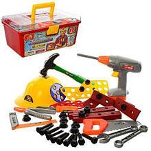 Игровой набор инструментов для мальчика в чемодане 2056 с дрелью на батарейках, каской и молотком