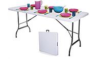 Стол туристический садовый складной 180 см белый раскладной столик чемодан для кемпинга