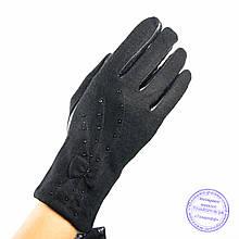 Жіночі кашемірові рукавички зі шкіряною долонею з плюшевою підкладкою - №F4-6