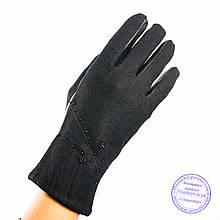 Женские кашемировые перчатки с кожаной ладошкой с плюшевой подкладкой - №F4-7