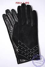 """Жіночі замшеві рукавички зі шкіряною долонею """"лайка"""" на вовняний в'язаній підкладці - F20-3"""