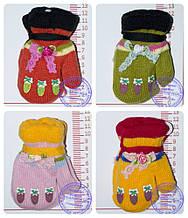 Рукавиці дитячі в'язані подвійні - різні кольори - 14-7-4
