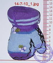 Варежки детские вязаные двойные - разные цвета - 14-7-10