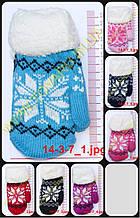 Підліткові рукавиці в'язані подвійні - різні кольори - 14-3-7