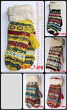 Жіночі рукавиці в'язані подвійні - різні кольори - 14-9-2