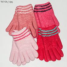 Вязаные перчатки с меховой подкладкой на девочек 4-6 года - №18-7-24