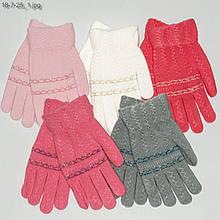 Вязаные детские перчатки на девочек 5-8 лет - №18-7-25