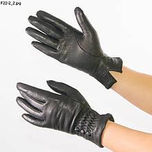Жіночі рукавички з оленячої шкіри на в'язаній шерстяній підкладці - F22-2 6,5