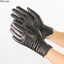 Жіночі рукавички з оленячої шкіри на в'язаній шерстяній підкладці - F22-3 6,5