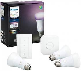 Стартовый комплект Philips Hue Color (Bridge, Dimmer, лампа E27 3шт) (929002216825)