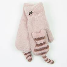 Подростковые варежки с меховой подкладкой на 12-16 лет - 19-7-74 Темно-розовый