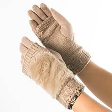 Текстильні жіночі рукавички-мітенки з в'язкою № 19-1-55-1 бежевий M