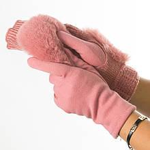 Текстильні жіночі рукавички-мітенки з в'язкою № 19-1-55-3 рожевий M