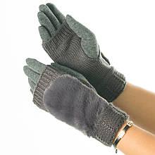 Текстильні жіночі рукавички-мітенки з в'язкою № 19-1-55-5 сірий M