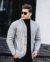 Кардиган мужской топовый светло-серого цвета. Мужской стильный кардиган светло-серый.