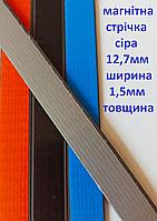 Магнітна стрічка 12,7 мм без клейового шару 1м сіра