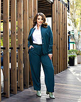Стильный женский костюм-двойка рубашка с брюками из вельвета батал, фото 1